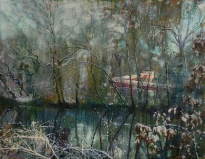 schilderij Isabella Werkhoven van zwembad glijbaan in de sneeuw door bomen