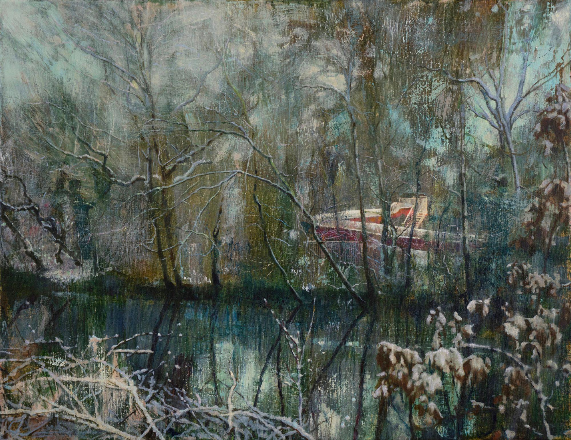 schilderij Isabella Werkhoven zwembad glijbaan sneeuw bomen