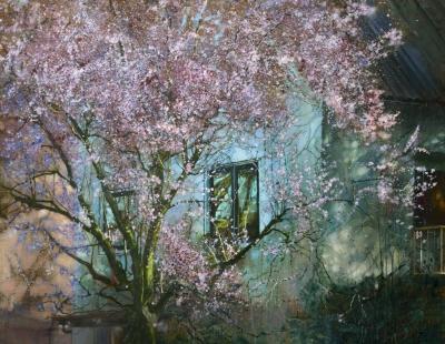 schilderij bloeiende roze bloesem boom voor huis painting pink blossom tree in front of a house