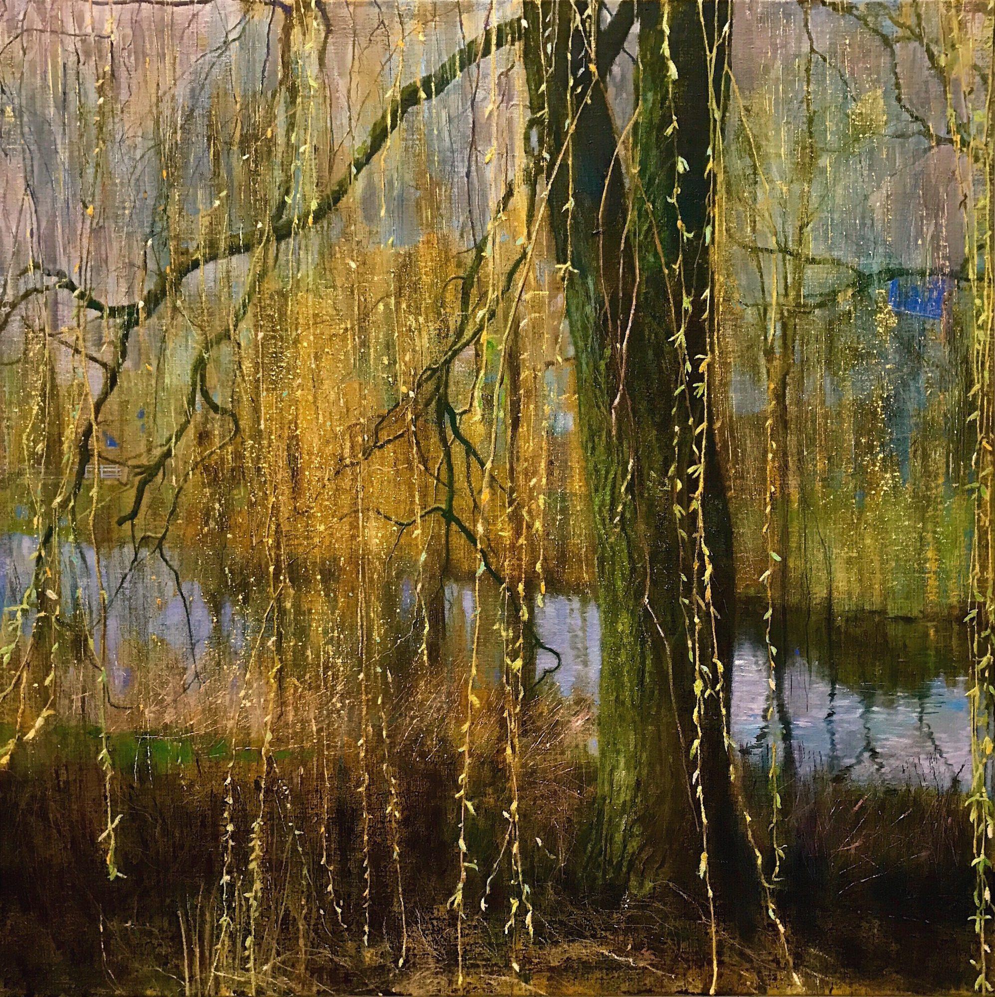 Schilderij isabella werkhoven wilg in lente bloei