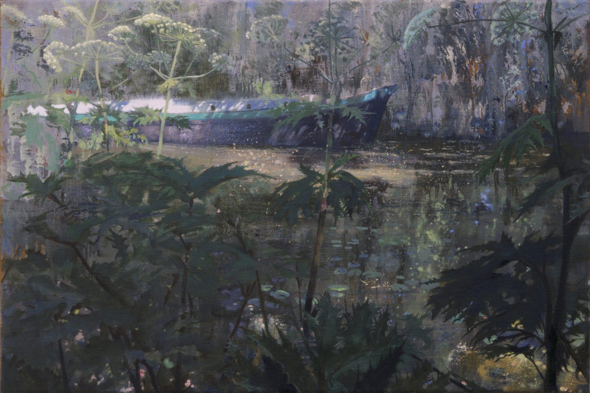 Schilderij boot en bereklauwen van Isabella Werkhoven