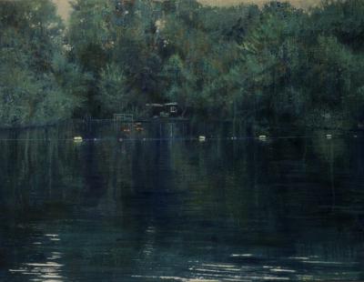 schilderij Isabella Werkhoven London Pond serie zwemvijver Dead calm donker stil water in bos