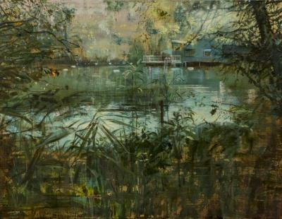 schilderij Isabella Werkhoven London Pond #7 verscholen zwemvijver painting secluded swimming pond  isabella werkhoven