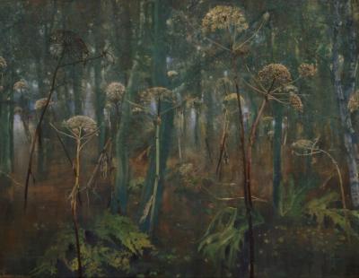 schilderij uitgebloeide reuze berenklauwen #6 in bos isabella werkhoven painting giant hogweed in the forest