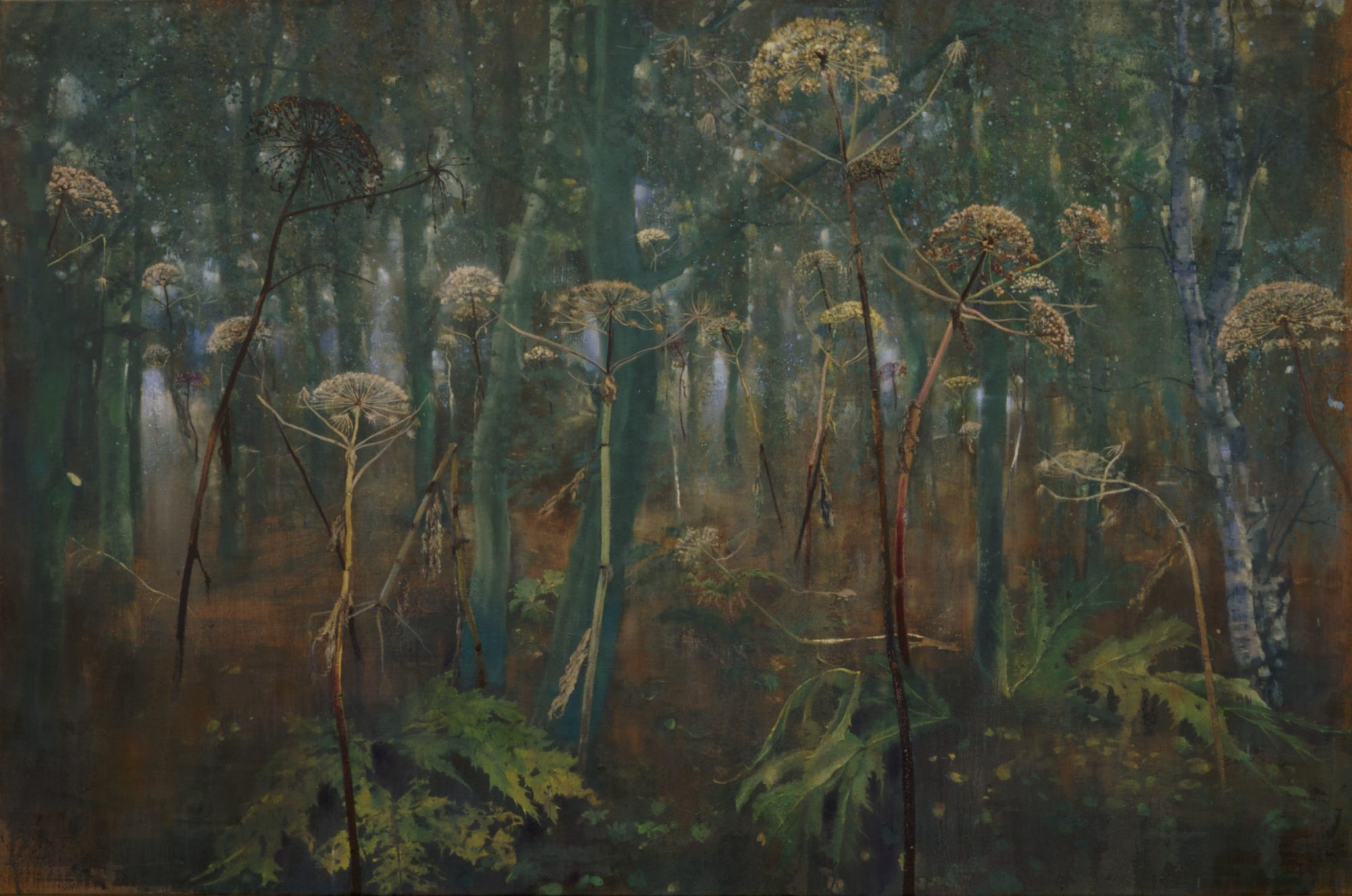 schilderij Isabella Werkhoven berenklauwen #6 in bos isabella werkhoven painting giant hogweed in the forest