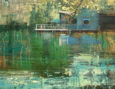 schilderij London Pond #8 zwemvijver serie water waterscape painting swimming pond Isabella werkhoven