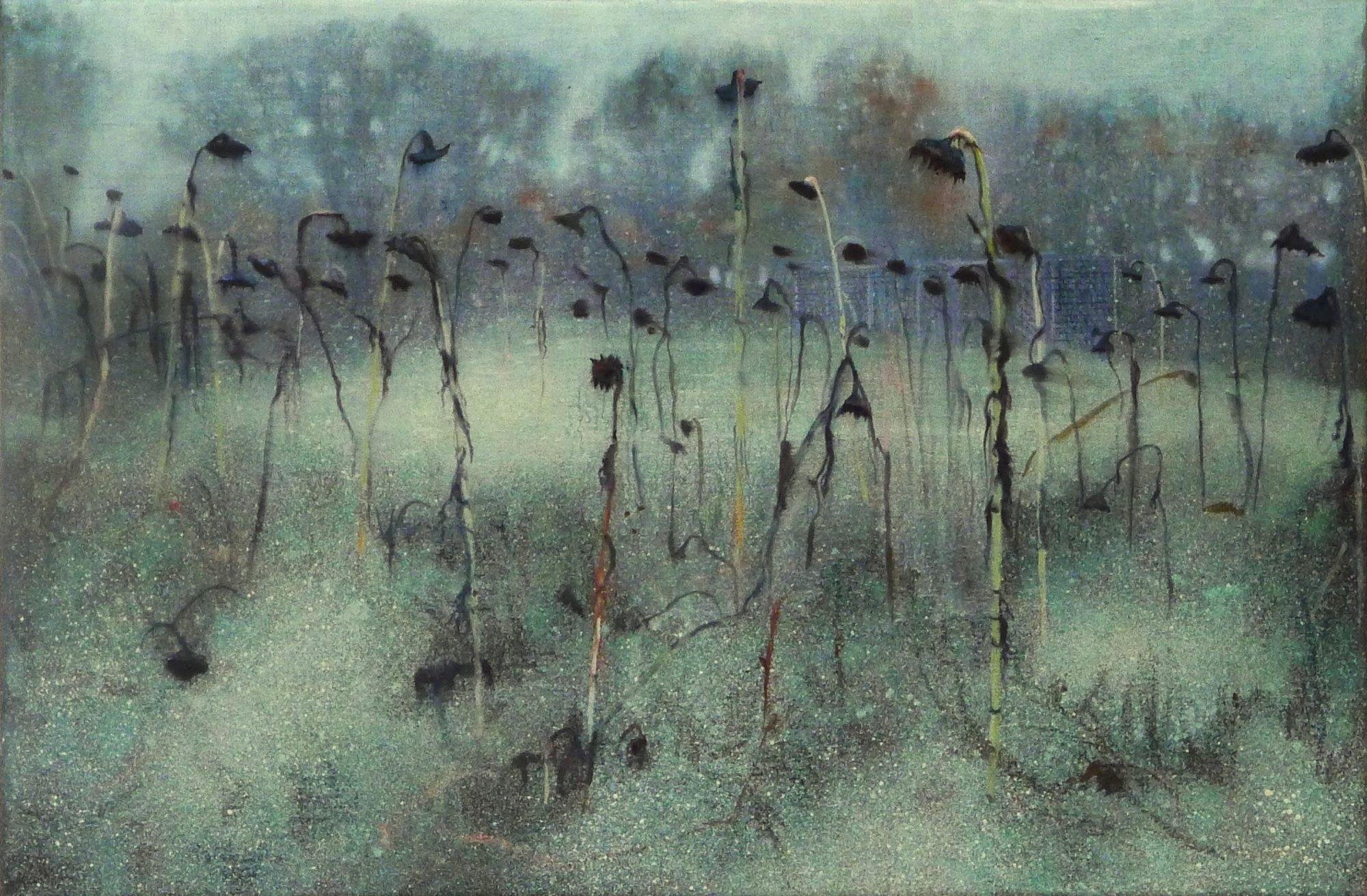 Schilderij Isabella Werkhoven uitgebloeide zonnebloemen 2010