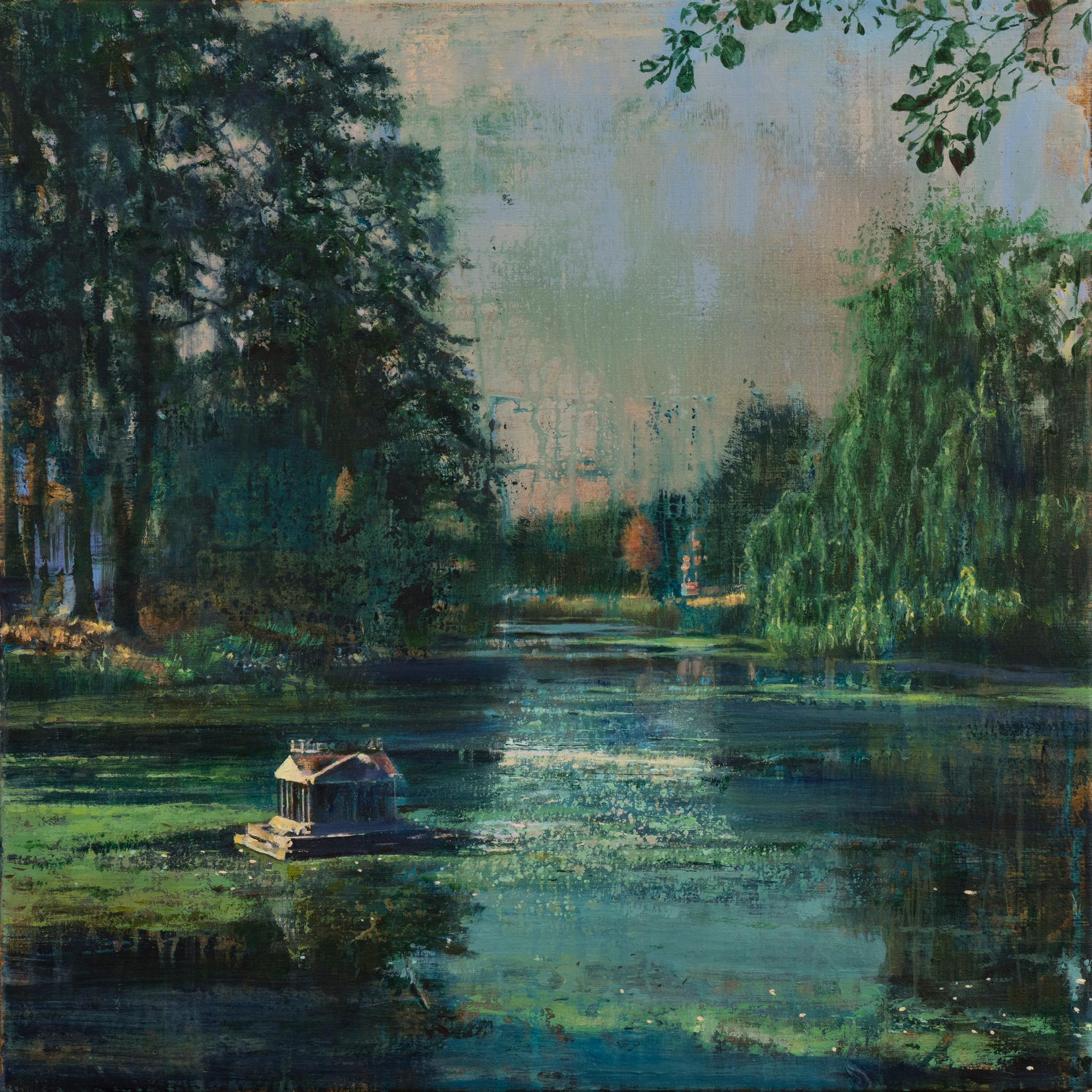 schilderij vijver Groningen eendenhuisje zomeravond painting city pond with duck house isabella werkhoven