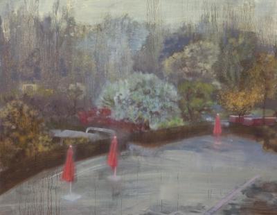 Schilderij Isabella Werkhoven parasollen verlaten zwembad papiermolen  in herfst