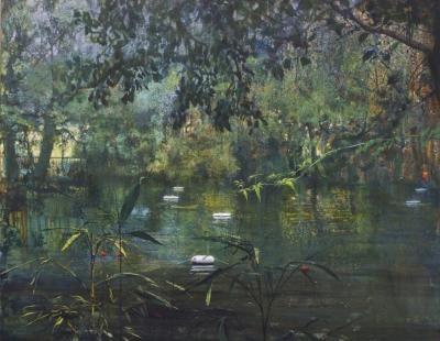 schilderij Isabella Werkhoven londen pond serie pond #2 bos zwemvijver reddingsboeien