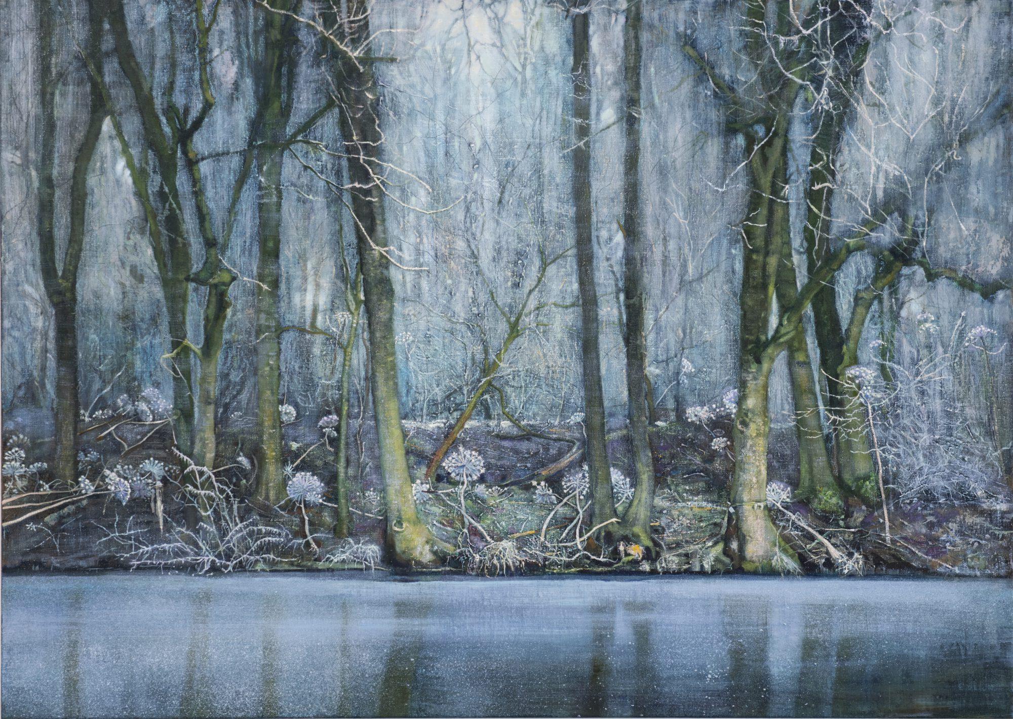 schilderij Isabella Werkhoven berenklauwen in winter bos sneeuw rijp ijs bevroren water