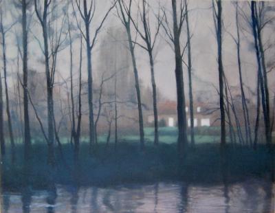 Schilderij huis door bomen en mist van Isabella Werkhoven