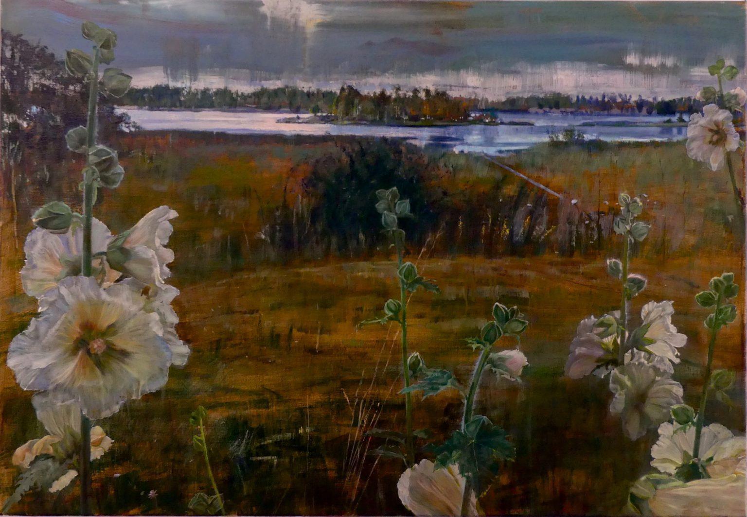 isabella schilderij grote stokrozen landschap