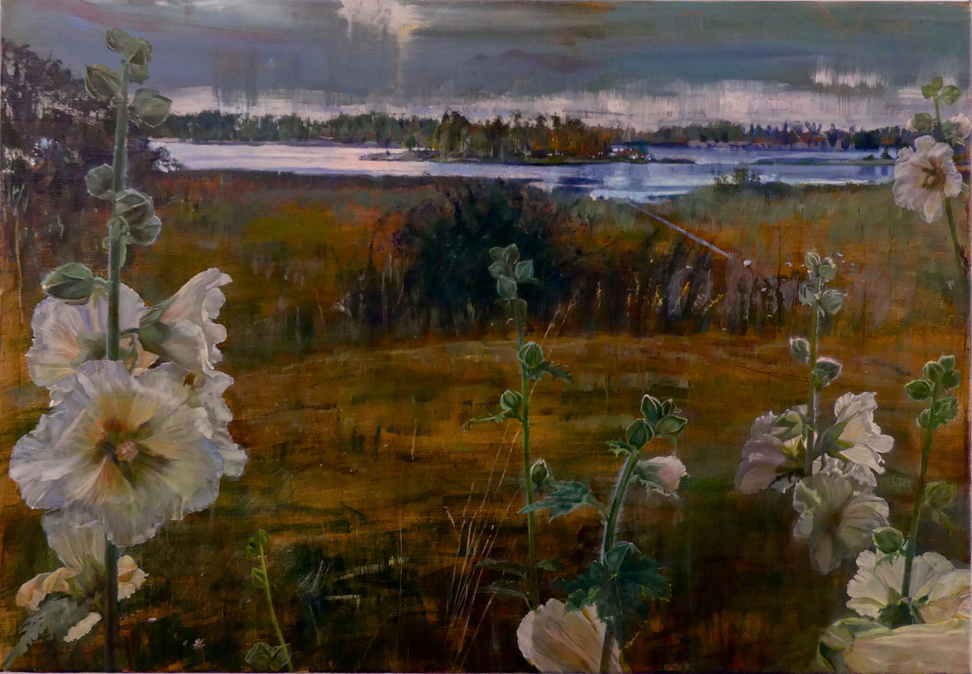 Schilderij Isabella Zweeds landschap met stokrozen