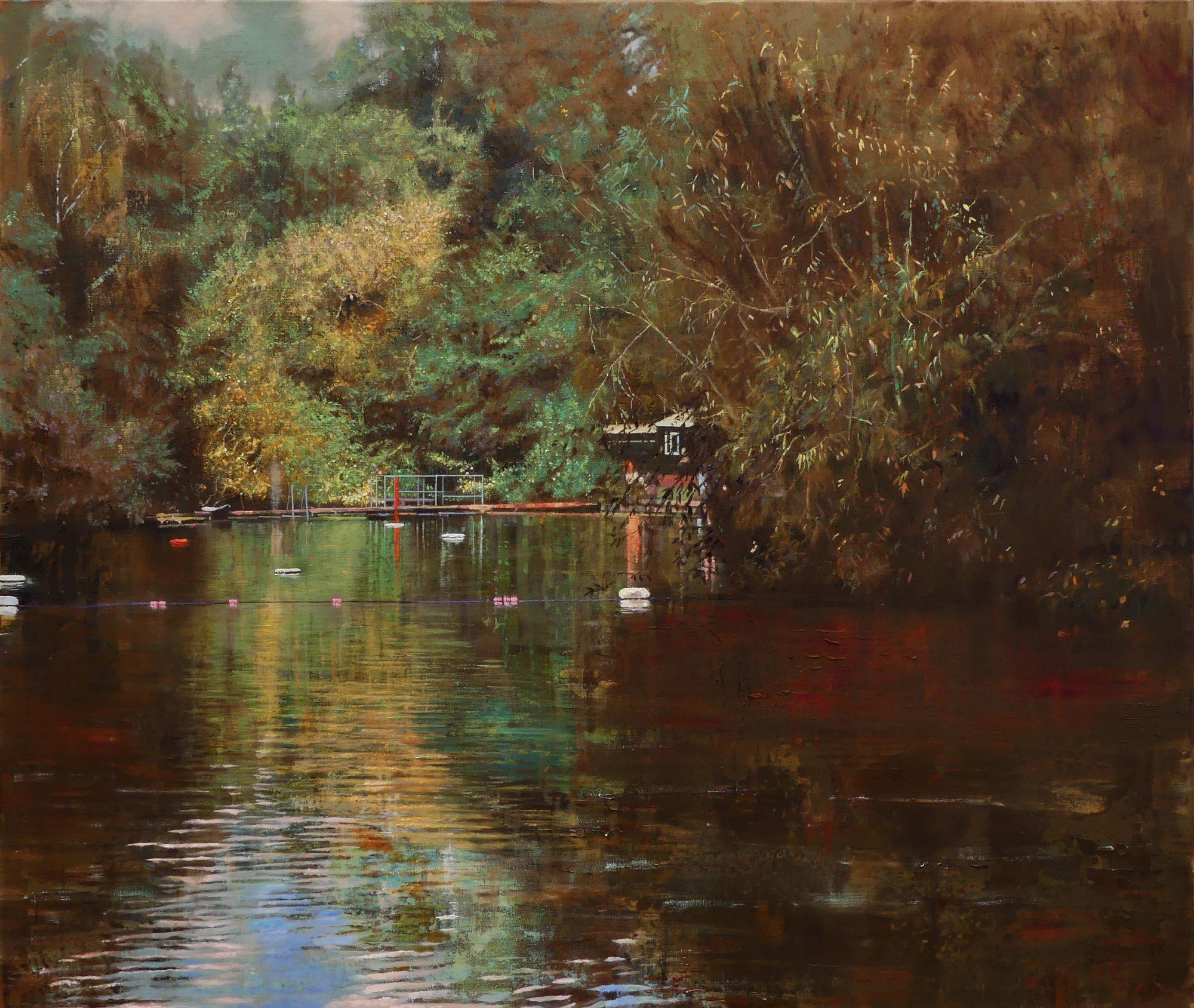 schilderij Isabella Werkhoven pond zwemvijver water bos