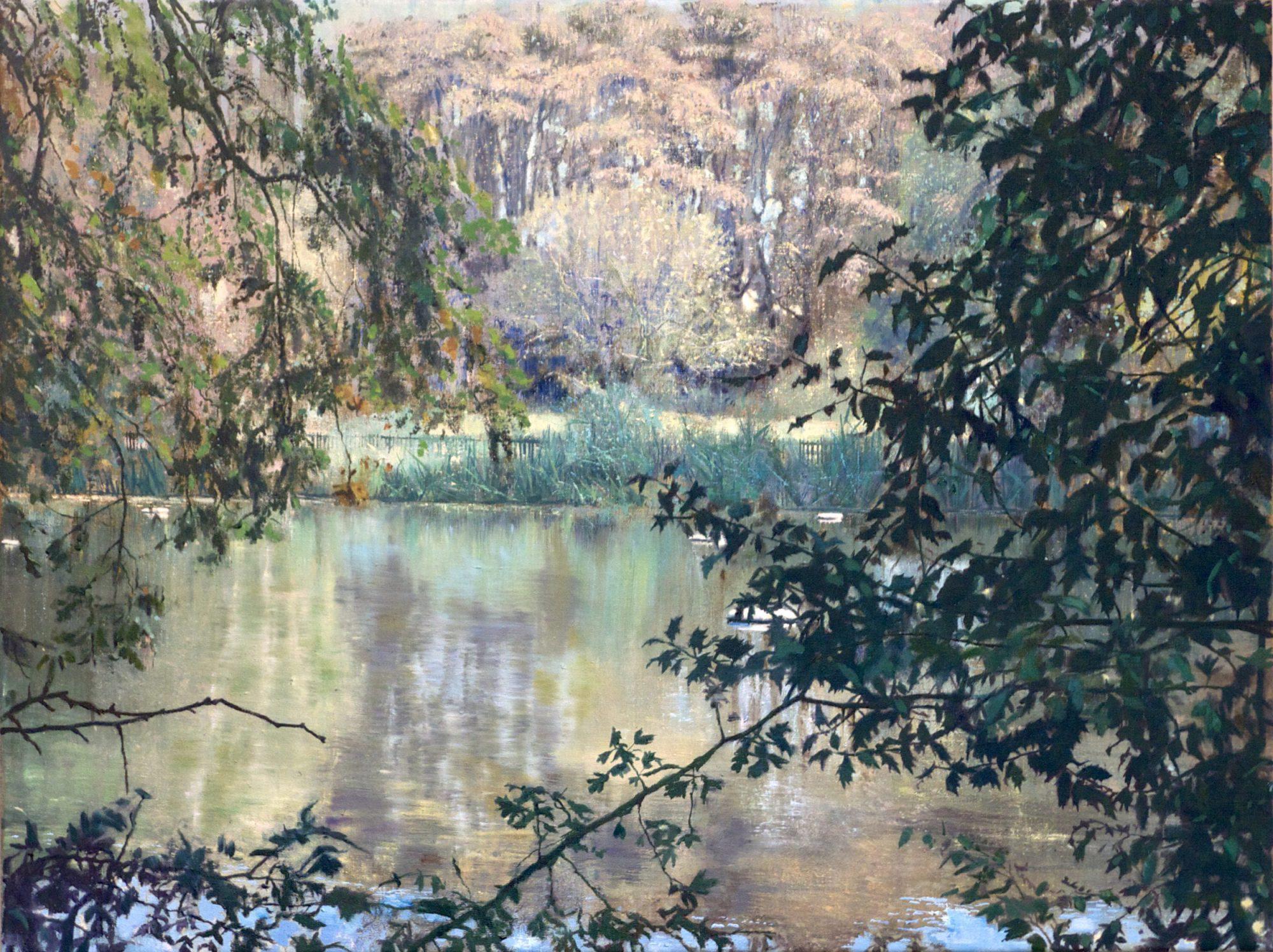 schilderij Isabella Werkhoven London Pond 1 zwemvijver in bos hek water herfst