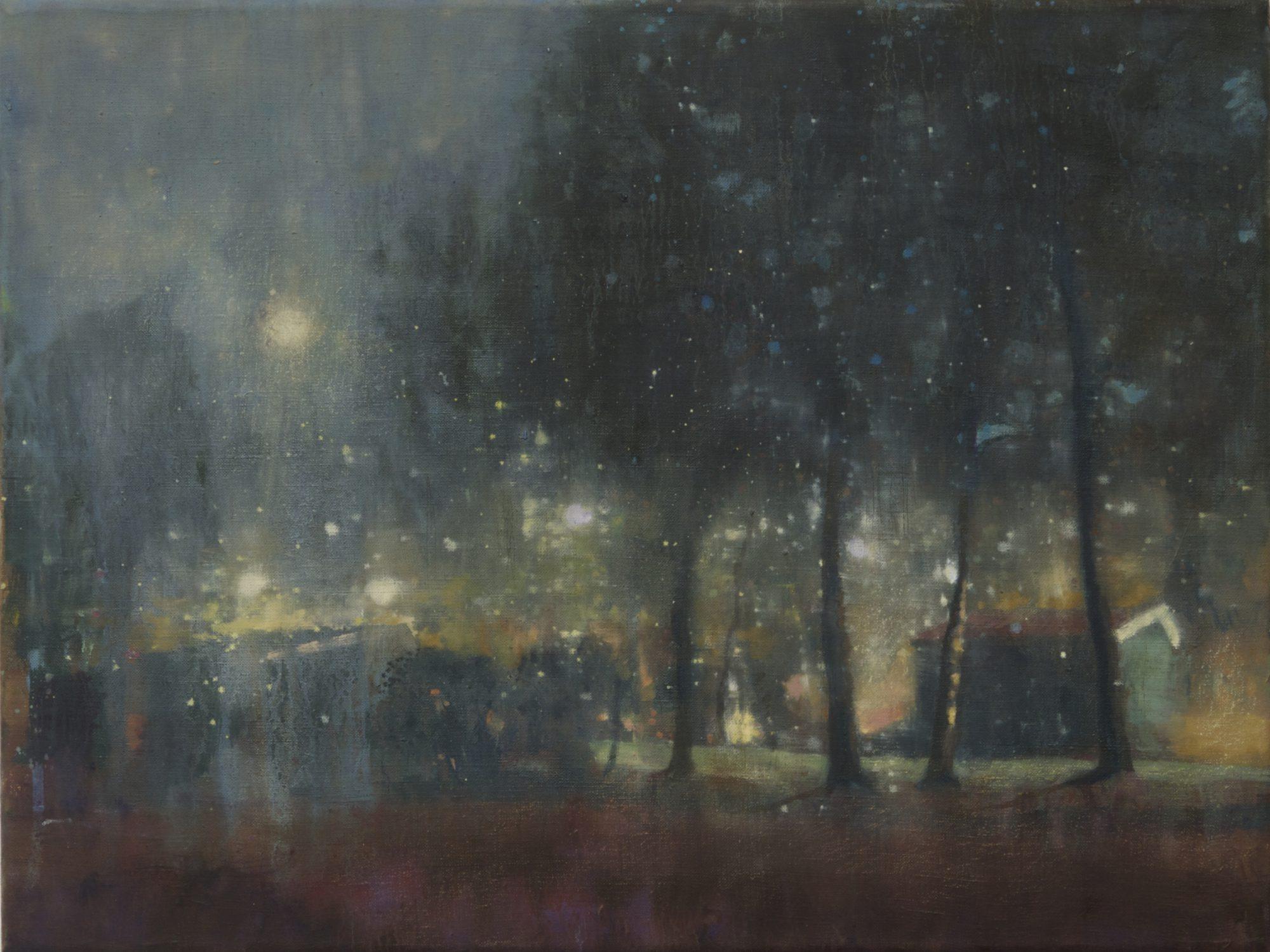 schilderij Isabella Werkhoven park bij avond en maan nocturne NRC