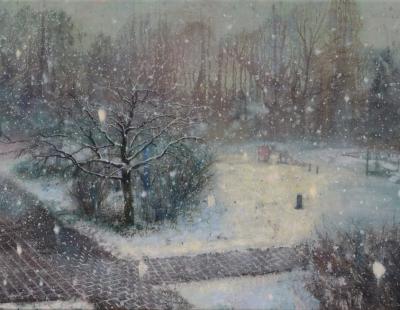 Schilderij Isabella Werkhoven speelveldje in de sneeuw