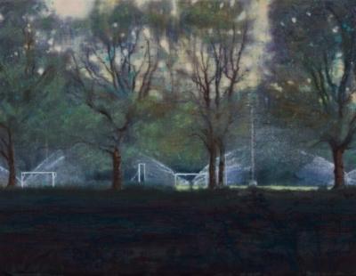 Schilderij sproeiers Isabella Werkhoven collectie Museum Belvédère Sproeiers voetbalvelden in de verte