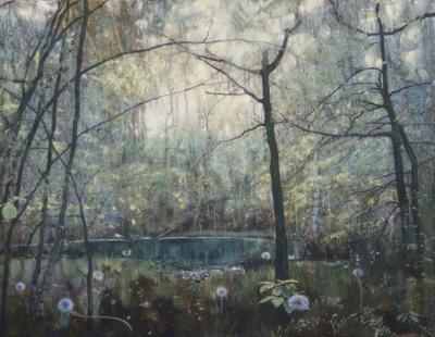 schilderij water vennetje in bos met pluisbollen paardebloemen painting water fen in the woods with blowball dandelions isabella werkhoven