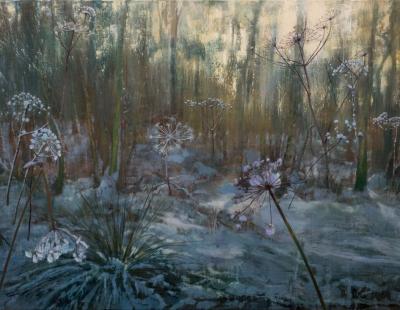 schilderij Isabella Werkhoven berenklauwen in sneeuw bos winter