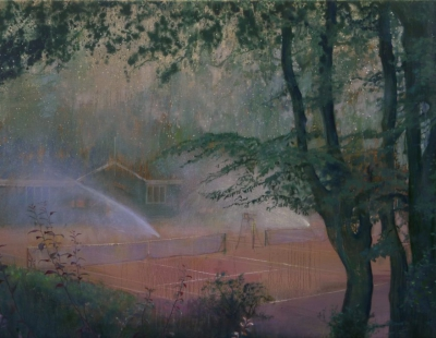 Schilderij tennisbaan met sproeiers van Isabella Werkhoven