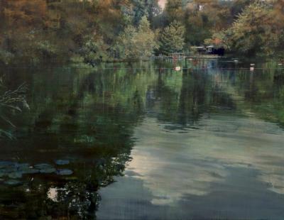 schilderij Isabella Werkhoven London Pond #5 zwemvijver Londen painting swimming pond #5 still water