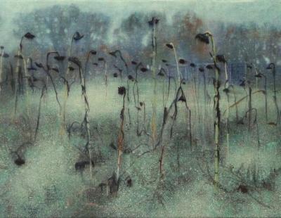 Schilderij uitgebloeide zonnebloemen 2010 Isabella Werkhoven