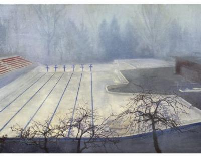 Schilderij leeg zwembad in de mist van isabella werkhoven in collectie Achmea