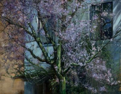 Schilderij isabella werkhoven  bloesemboom bij avond