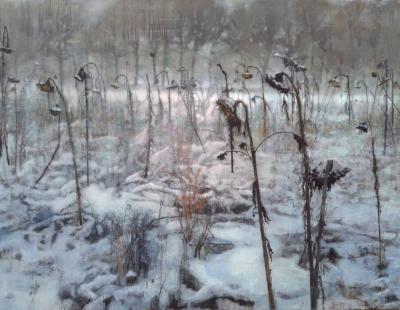 Schilderij zonnebloemen in de sneeuw Isabella Werkhoven
