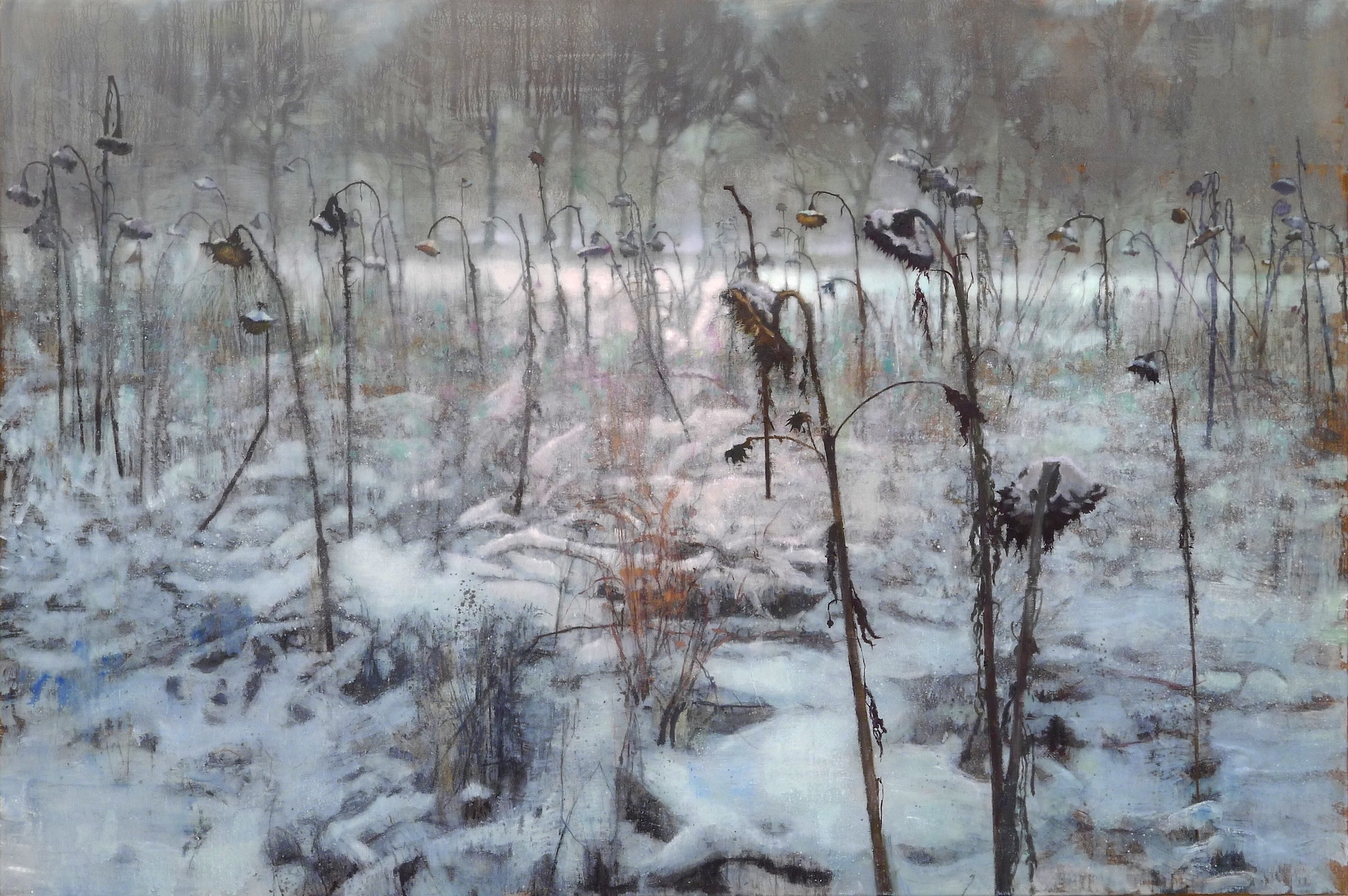 Schilderij Isabella Werkhoven zonnebloemen in de sneeuw