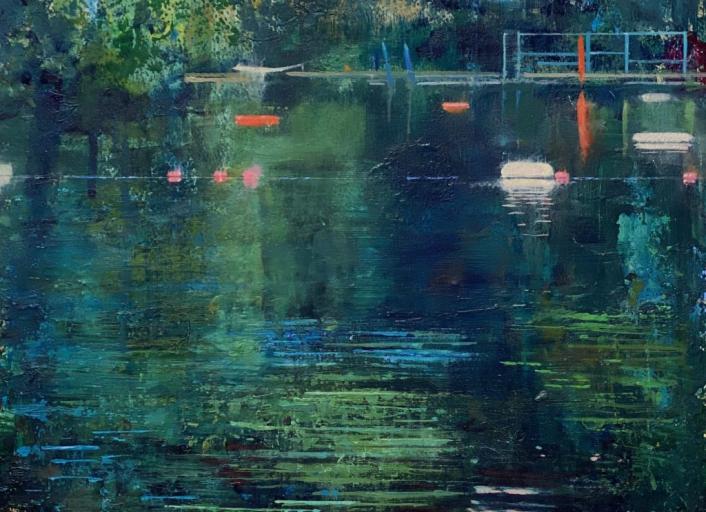 London Swimming Pond olieverf op papier schilderij Isabella Werkhoven