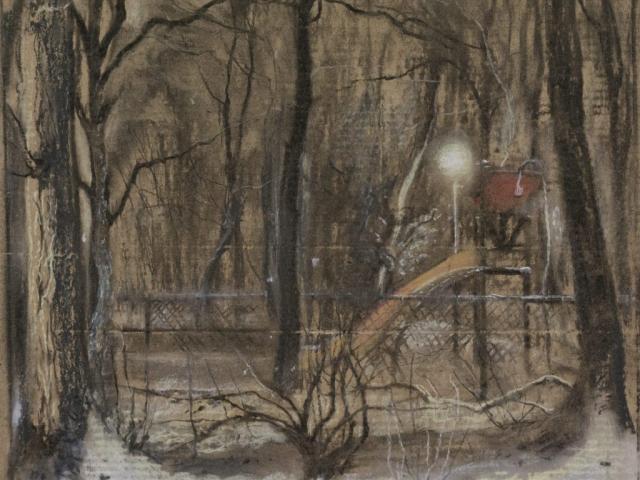 tekening in pastel en houtskool op karton speeltuin bij avond in de sneeuw Isabella Werkhoven