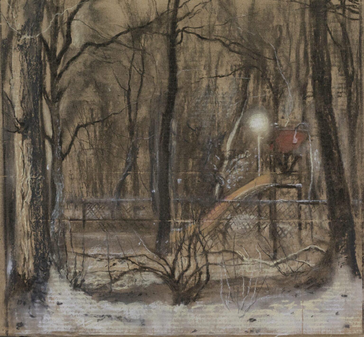tekening in pastel en houtskool op karton voor boek Isabella Werkhoven
