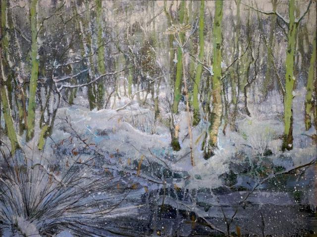 schilderij op papier sneeuw bos met berenklauw isabella werkhoven