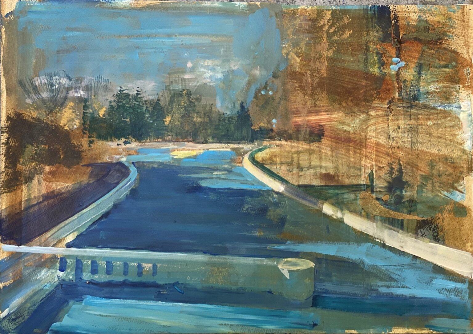 Isabella Werkhoven schilderij op papier zwembad