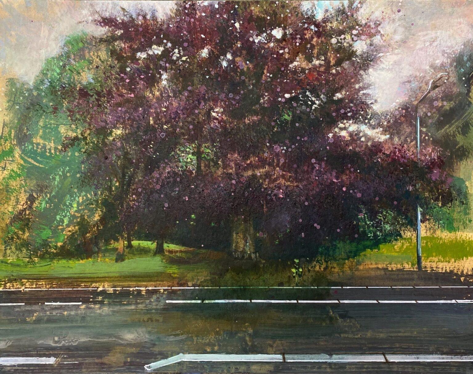 Isabella werkhoven schilderij rode beuk aan weg