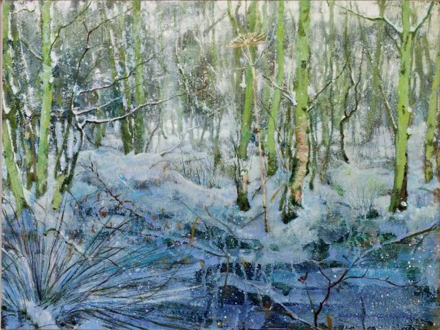 berenklauw in sneeuw bos schilderij isabella werkhoven