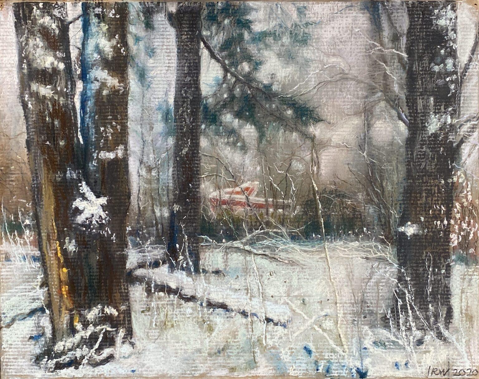pasteltekening op karton glijbaan sneeuw piezografie