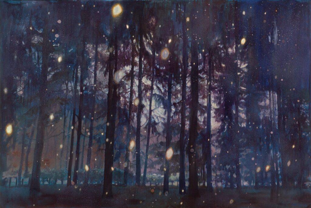schilderij cosmic wood Isabella Werkhoven