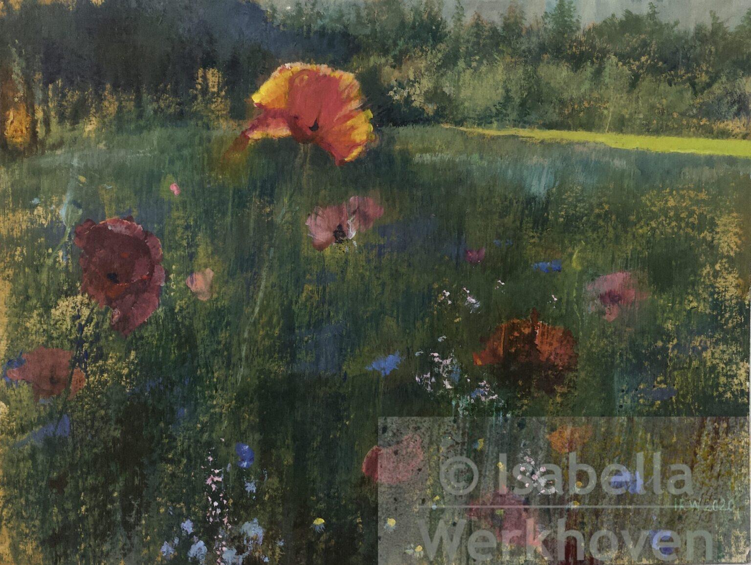Schilderij klaprozen painting poppies