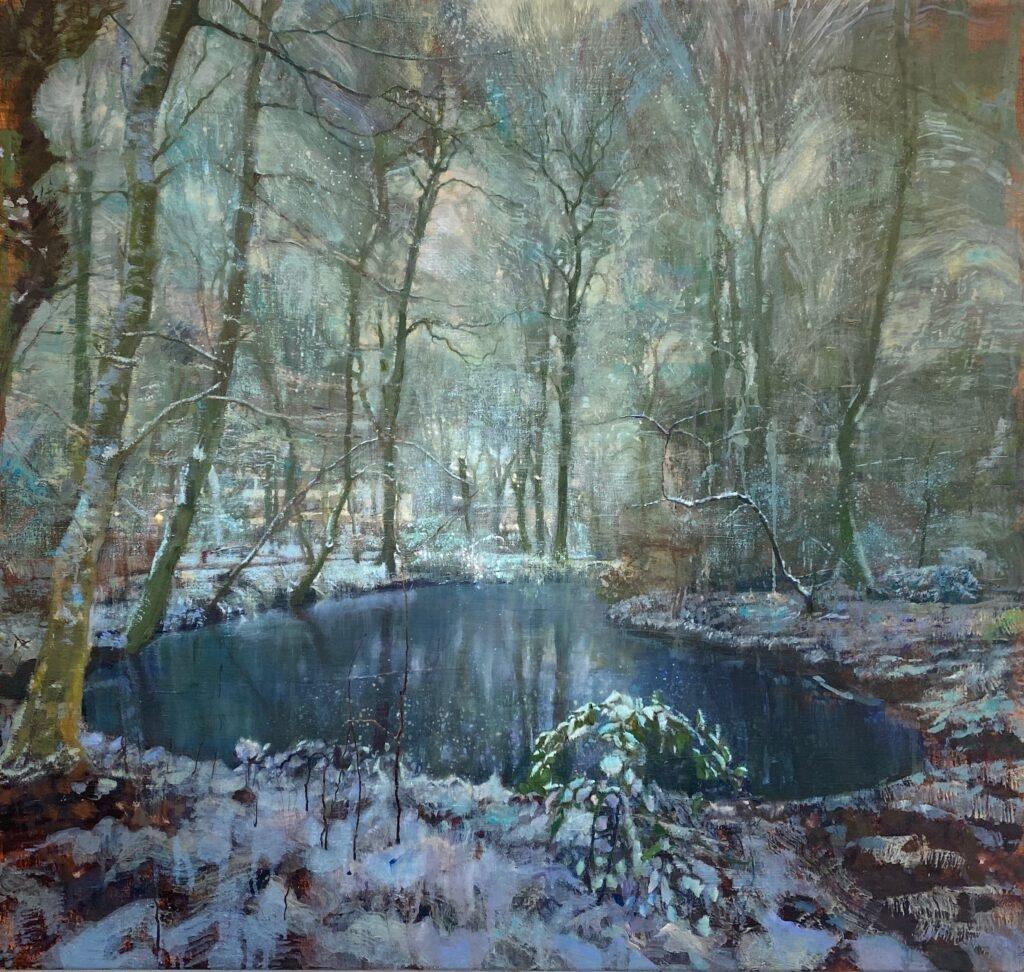 schilderij isabella werkhoven water vijver in sneeuw